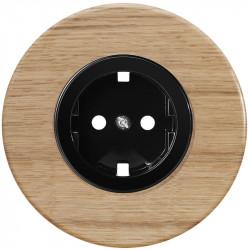 OBZOR Retro juoda elektros rozetė su ąžuolo rėmeliu
