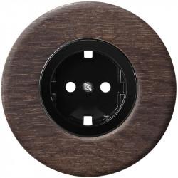 OBZOR Retro juoda elektros rozetė su ažuoliniu rėmeliu