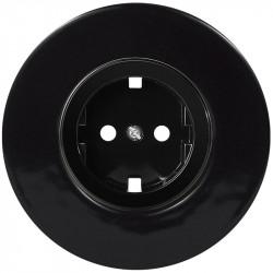 OBZOR Retro juoda elektros rozetė su juodu keraminiu rėmeliu