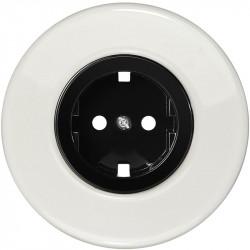 OBZOR Retro juoda elektros rozetė su baltu keraminiu rėmeliu