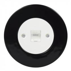 OBZOR Retro kompiuterinis baltas lizdas su juodu keraminiu rėmeliu