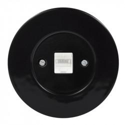 OBZOR Retro kompiuterinis juodas lizdas su juodu keraminiu rėmeliu
