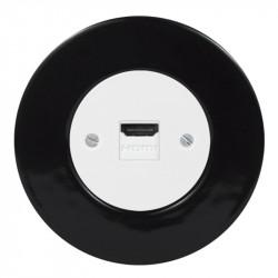 Baltas OBZOR HDMI lizdas su juodu keraminiu  rėmeliu
