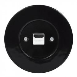 OBZOR RETRO juodas HDMI lizdas su juodu keraminiu  rėmeliu