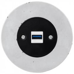 OBZOR RETRO juodas USB lizdas su krovimo funkcija ir betono rėmeliu