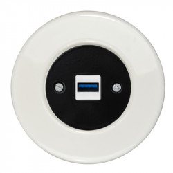 OBZOR RETRO juodas USB lizdas su krovimo funkcija ir baltu keraminiu rėmeliu