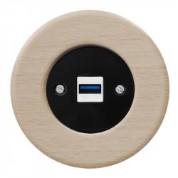 OBZOR RETRO juodas USB lizdas su krovimo funkcija ir buko rėmeliu