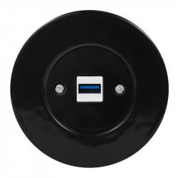 OBZOR RETRO juodas USB lizdas su krovimo funkcija ir juodu keraminiu rėmeliu