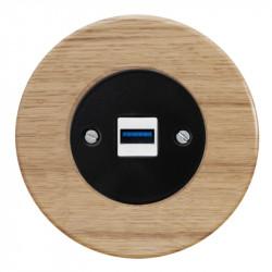 OBZOR RETRO juodas USB lizdas su krovimo funkcija ir ąžuolo rėmeliu