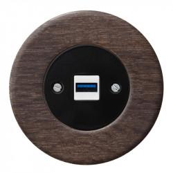 OBZOR RETRO juodas USB lizdas su krovimo funkcija ir ąžuoliniu rėmeliu