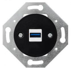 OBZOR RETRO juodas USB lizdas su krovimu
