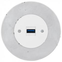 OBZOR RETRO baltas USB lizdas su krovimo funkcija ir betono rėmeliu