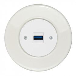 OBZOR RETRO baltas USB lizdas su krovimo funkcija ir baltu keraminiu rėmeliu