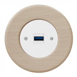 OBZOR RETRO baltas USB lizdas su krovimo funkcija ir buko rėmeliu