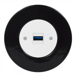 OBZOR RETRO baltas USB lizdas su krovimo funkcija ir juodu keraminiu rėmeliu
