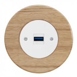 OBZOR RETRO baltas USB lizdas su krovimo funkcija ir ąžuolo rėmeliu
