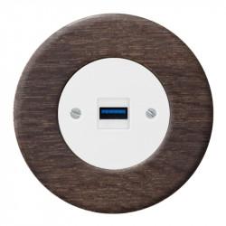 OBZOR RETRO baltas USB lizdas su krovimo funkcija ir ąžuoliniu rėmeliu