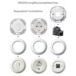 Renova baltas dviejų grupių perjungiklis - 3 - 20,49€