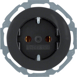 Berker R.1 juodas elektros lizdas pasukamas 45 kampu