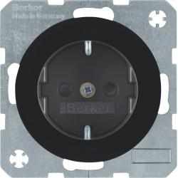 Berker R.1 juodas elektros lizdas su vaikų apsauga