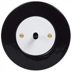Obzor retro svirtelinis jungtukas baltu dangteliu, juoda svirtele ir juodu rėmeliu