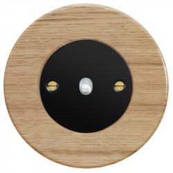 Obzor retro svirtelinis jungtukas juodu dangteliu, balta svirtele ir ąžuolo rėmeliu