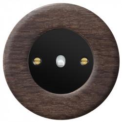 Obzor retro svirtelinis jungtukas juodu dangteliu, balta svirtele ir ąžuoliniu rėmeliu