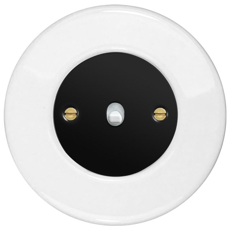 Obzor retro svirtelinis jungtukas juodu dangteliu, balta svirtele ir baltu rėmeliu