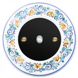 Obzor retro svirtelinis jungtukas juodu dangteliu, balta svirtele ir dekoruotu rėmeliu