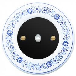Obzor retro svirtelinis jungtukas juodu dangteliu, balta svirtele ir deko rėmeliu
