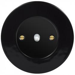 Obzor retro svirtelinis jungtukas juodu dangteliu, balta svirtele ir juodu rėmeliu
