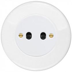OBZOR Retro svirtelinis baltas jungtukas su juodomis svirtelėmis ir baltu remeliu