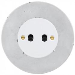 OBZOR Retro svirtelinis baltas jungtukas su juodomis svirtelėmis ir betono rėmeliu