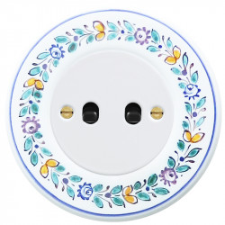 OBZOR Retro svirtelinis baltas jungtukas su juodomis svirtelėmis ir dekor rėmeliu