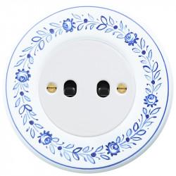 OBZOR Retro svirtelinis baltas jungtukas su juodomis svirtelėmis ir dekoro rėmeliu
