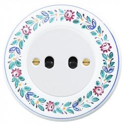 OBZOR Retro svirtelinis baltas jungtukas su juodomis svirtelėmis ir dekoruotu rėmeliu