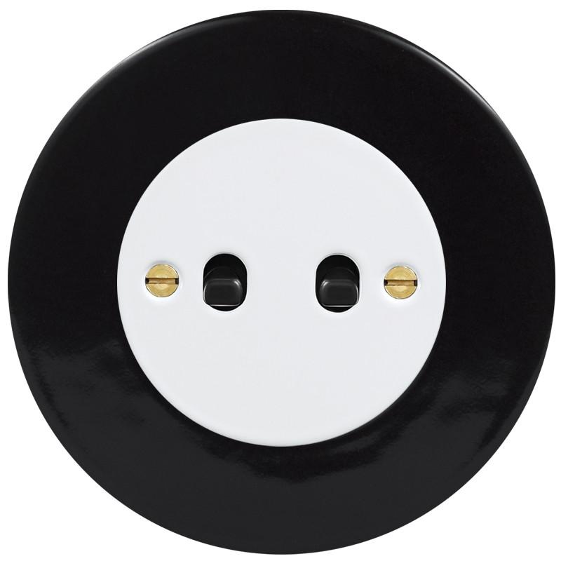 OBZOR Retro svirtelinis baltas jungtukas su juodomis svirtelėmis ir juodu remeliu