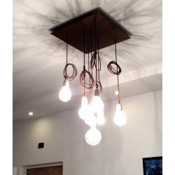 Rudas pintas tekstilinis kabelis - instaliacija