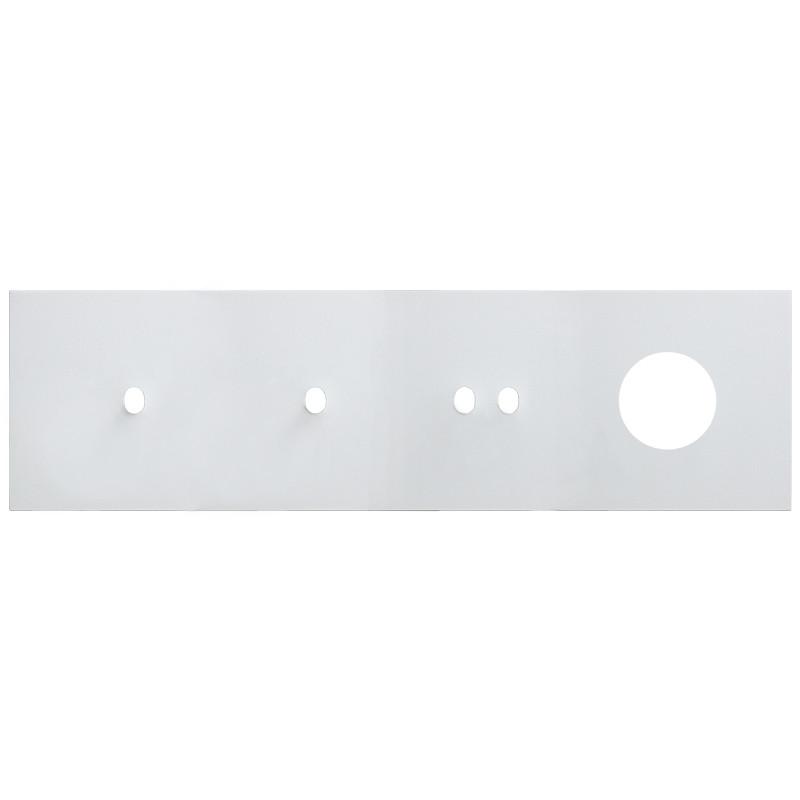VECTIS baltas keturvietis rėmelis: du elektros jungikliai, vienas apšvietimo jungtukas, viena rozetė