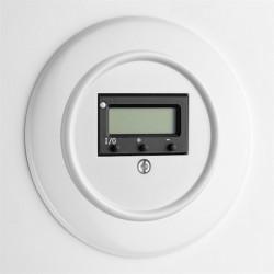 Baltas THPG duroplasto šildomų grindų termostatas su apvaliu rėmeliu