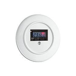 Baltas THPG duroplasto šildomų grindų termostatas su apvaliu rėmeliu, įjungtas