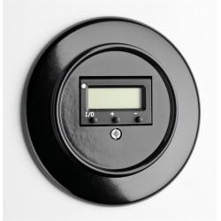 Juodas THPG bakelito šildomų grindų termostatas su apvaliu rėmeliu