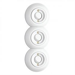 THPG porceliano  jungiklis - perjungiklis, baltas trivietis keraminis rėmelis