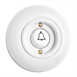 thpg porceliano keramikinis durų skambučio mygtukas su varpeliu ir apvaliu baltu rėmeliu