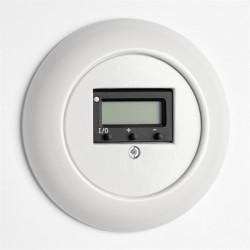 Baltas THPG porceliano šildomų grindų termostatas su apvaliu baltu rėmeliu