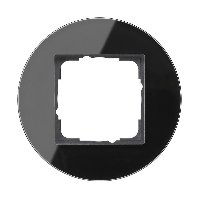 Gira studio virštinkinis elektros jungiklis stiklinis vienvietis viengubas rėmelis juodas