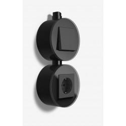 Gira studio virštinkinis elektros lizdas rozetė juoda jungiklis jungtukas