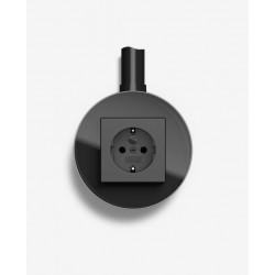 Gira studio virštinkinis elektros lizdas rozetė stiklinis rėmelis juodas