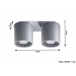 Plafonas ORBIS 2 pilkas - 5 - 51,98€