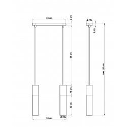 Pakabinamas šviestuvas PABLO 2 baltas - 2 - 64,76€
